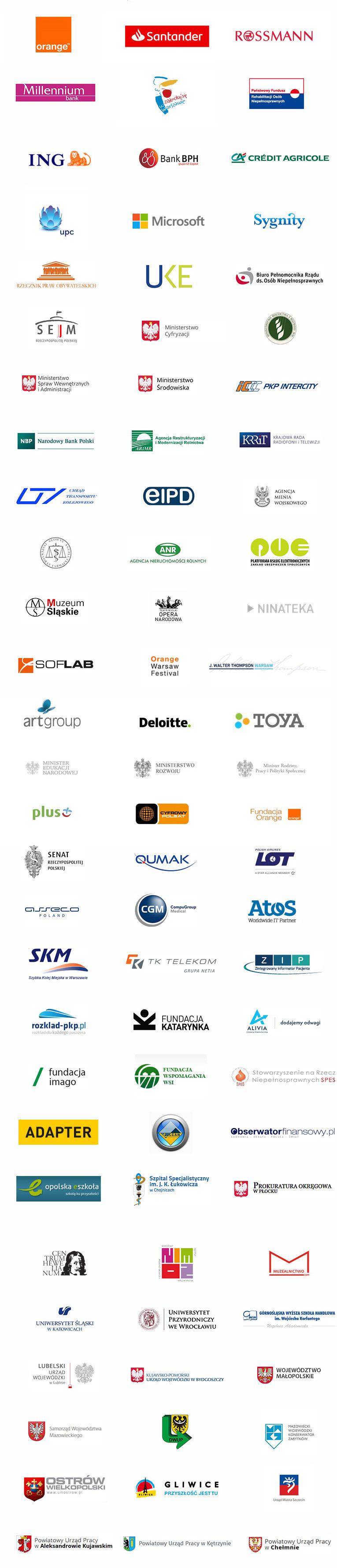 Kilkadziesiąt logo firm i instytucji dla których pracowała Fundacja Widzialni, m.in. Orange Polska, Santander Bank Polska, Rossmann, Bank Millennium, Miasto Stołeczne Warszawa czy PFRON